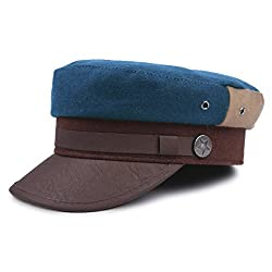 Damara Woolen Visor Newsboy Hats Beret Caps,Blue