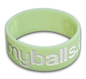 FeelMyBalls.org - Green Glow in the dark Band w/ White Lettering for Testicular Cancer Awareness