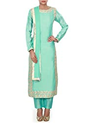 Sky blue straight suit adorn in gotta patch work only on Kalki