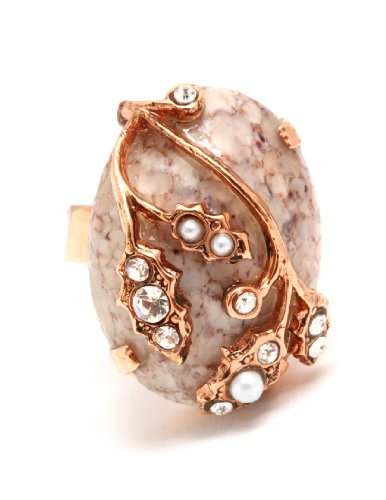 Amaro Jewelry Studio 'Release' Collection 24K Rose Gold Plated Oval Shaped Fashionable Adjustable Ring with Leaf Ornaments, Labrador, Hematite, Pyrite, Black Tahiti Pearls and Swarovski Crystals