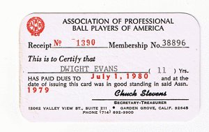 Dwight Evans MLB Players Association Membership Card by Bud