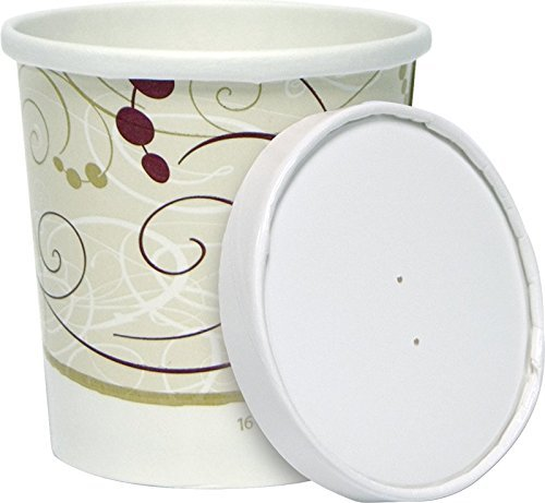 16 oz. Symphony Paper Soup and frozen dessert ice cream Container with Vented Flat Lid- keeps food hot/or cold - 25 sets - plus 5 clip on cup handles (Ice Cream Lids compare prices)