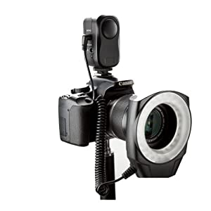 BV-Jo - Flash LED anular para Canon 1Ds, 5D, 7D, 30D, 40D, 50D, 400D, 450D, 500D, 550D, 1000D, Nikon D700, D300, D100, D90, D80, D60, D40, D40x, D3, D2, D1, D5000, D3000, Olympus E620, E520, E510, E500, E420, E450, E3, E1, E-P2, Pentax, K20D, Alpha A200 K200D/Sony, A230, A300, A330, A350, A380, A450, A500 , A550, A700, A850 y A900