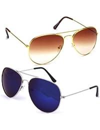 Sheomy Unisex Combo Pack Of Aviator Sunglasses For Men And Women - Mirrored Sunglasses ( Golden Brown - Mercury...