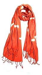Anuze Fashions Tie Dye Orange & White Coloured Design Stole