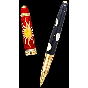 David Oscarson Celestial Fire Red Golden Yellow Limited Edition Rollerball Pen