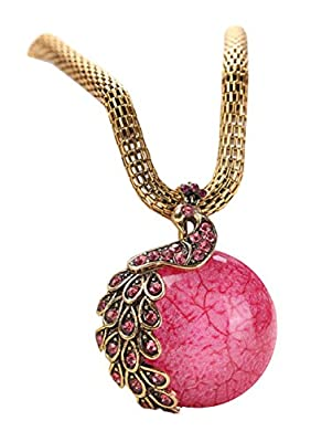 Bestime Womens Fashion Retro All-match Pearl Crystal Alloy Gold Pendant Necklace