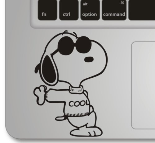 snoopy apple macbook front decal sticker humor handmade. Black Bedroom Furniture Sets. Home Design Ideas
