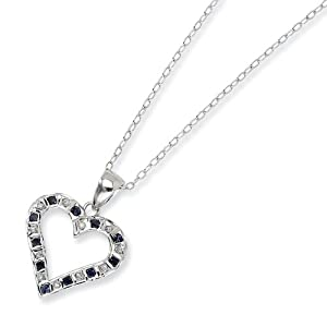 Sterling Silver & Platinum-plated Dia. & Sapphire 18in Heart Necklace