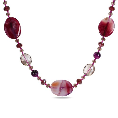 Mixed Purple and Crystal Beads Endless Necklace, 42