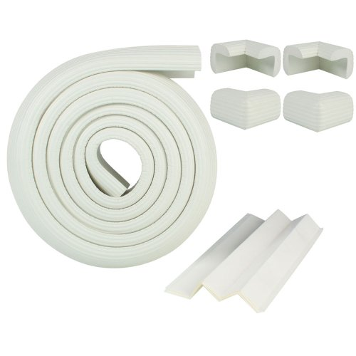 2M Baby Child Kids Safety Safe Table Desk Edge Cushion Protector W/ Tape + 4 Corner Guards White front-15326