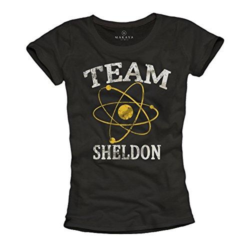 Magliette donna nerd TEAM SHELDON T-shirt Big Bang Theory nera M