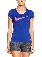 Nike Camiseta Manga Corta W Nk Dry Contr Top Ss Gpx (Azul Royal)