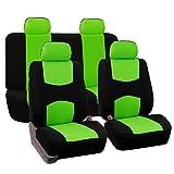 FH-FB050114 Flat Cloth Car Seat Covers Green / Black Color- Fit Most Car, Truck, Suv, or Van