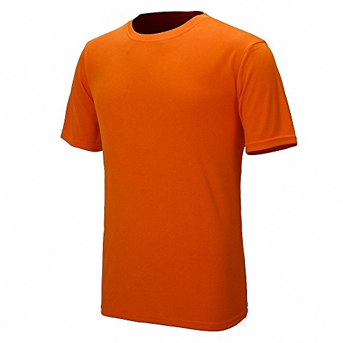 Maoko Mens Sports Short Sleeve Polyester T-Shirt,Running T Shirts for Boys Quick Drying Orange