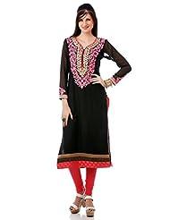 Utsav Fashion Women's Black Cotton Silk Readymade Churidar Kameez-Medium