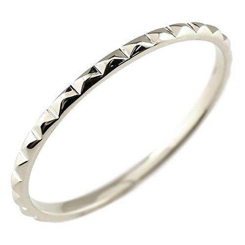 [アトラス] Atrus リング ピンキーリング ホワイトゴールド 10金 指輪 ハンドメイド ストレート 独自のカットを施した 極細 リング 華奢 ファッションリング 4号