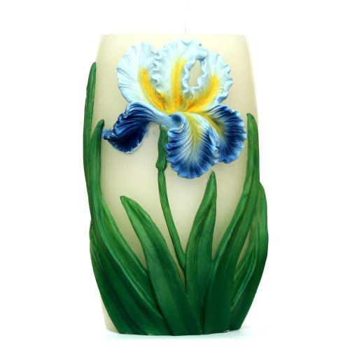 Dfl 4.5X7 Vase Shape Of Flameless Real Wax Led Candle With Timer-Embossed Blue Iris Flower,Battery-Operated,