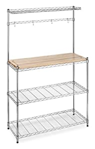 Whitmor Supreme Kitchen Cart Wood & Chrome