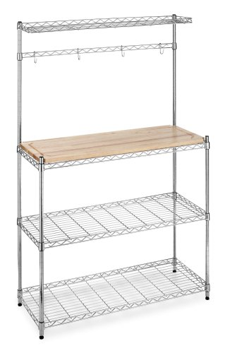 Whitmor 6054-268 Supreme Bakers Rack, Chrome and Wood