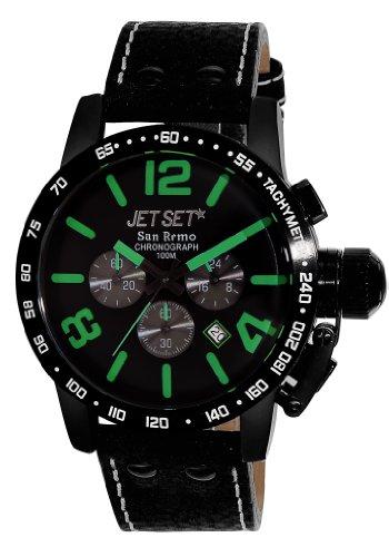 Jet Set J8358B-437 - Reloj cronógrafo de cuarzo para hombre con correa de piel, color negro