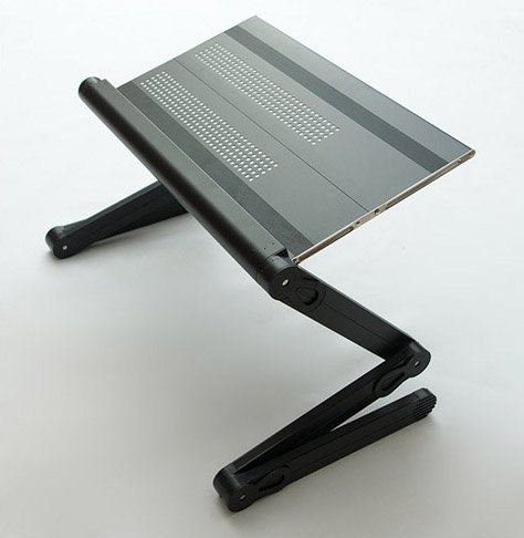 """Adjustable Vented Laptop Table Laptop Computer Desk Portable Bed Tray Book Stand Push Button Joints Up To 17""""( Sojitek Black)"""