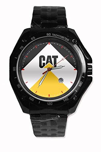 Design Custom Printed Caterpillar Cat Logo For Black Watch Stainless Steel
