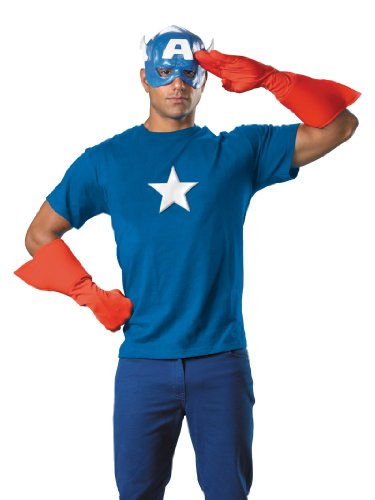 Captian America Mens Theatrical Costume Kit Gloves Mask and Chest Piece