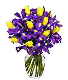 FROM YOU FLOWERS - Sunny Tulip and Iris Bouquet (FREE Vase Included)