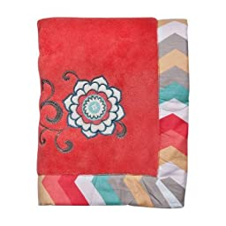 Waverly® Pom Pom Play Embroidered Coral Fleece Baby Blanket Baby Girl