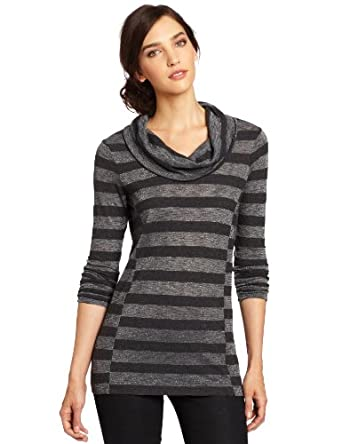 C&C California Women's Long Sleeve Cowl Neck Tunic Tee, Charcoal Heather, Large