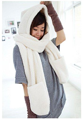 Ducomi® GeekChic- Luxury Designer Sciarpa Cappello Guanti in Uno in Pile Termico (White)