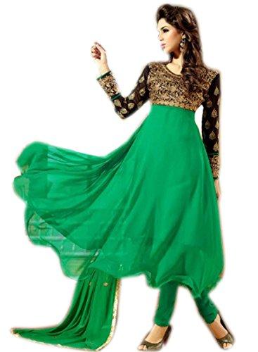 Ladies Latest Fashion ? Frock Style Green Anarkali Suit