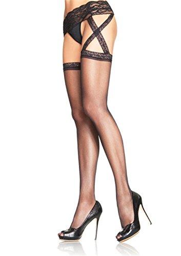 Womens Leg Avenue 1653Q Criss Cross Sheer Garter Belt Stocking