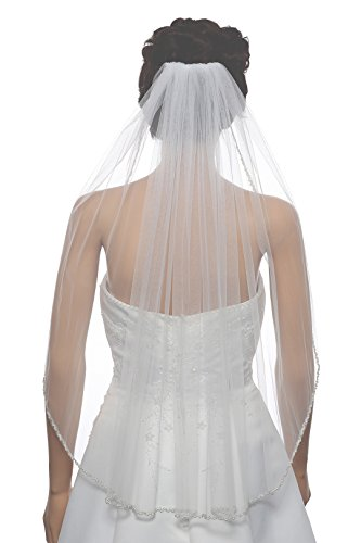 1T 1 Tier Double Row Wavy Pearl Crystal Edge Veil - Ivory Elbow Length 30