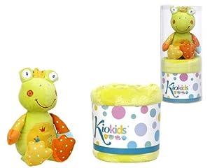 Kiokids 1210. Toalla pequeña verde y peluche rana para bebés de KIOKIDS - Bebe Hogar