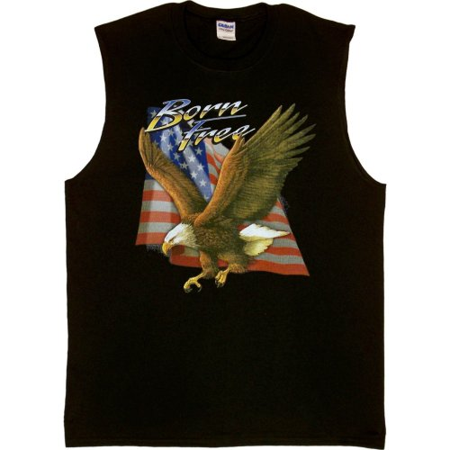 MENS SHOOTER (SLEEVELESS) T-SHIRT : BLACK - LARGE - Born Free - Patriotic Eagle US Flag Biker