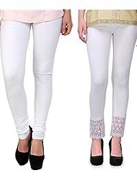 Pi World White Lace & Cotton Lycra Legging