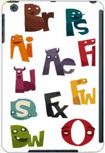 iPadmini アイパッドミニ ケース ca544-1 イラスト アルファベット ロゴ モンスター ホワイト apple iPad mini タブレット カバー ジャケット スマホケース softbank au