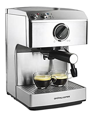 Andrew James 15 Bar Pump Barista Coffee Maker With 2 Year Warranty - For Professional Espressos, Lattes And Cappuccinos At Home