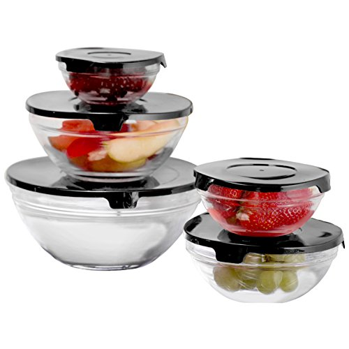 10 Piece Glass Bowl Set with Solid Lids, Black (5 Piece Glass Bowl Set compare prices)