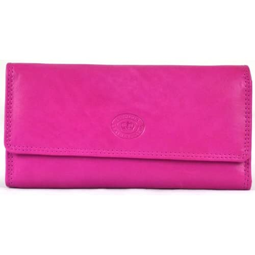 Ladies Soft Nappa Large Matinee Leather Purse with Back and Inner Zip (Navy   Dark Brown   Red   Cerise Pink  ...