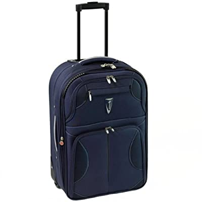 Azure Small 22 Inch Super Lightweight Expandable Suitcase (Navy/Silver)