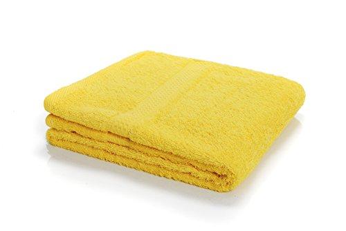 etérea-Asciugamano in spugna serie, spesso e soffice, 500g/m² qualità, 15colori, 7misure-Seif panni, Guanti, ospiti panni, asciugamani, teli doccia, teli da bagno e sauna, 100% cotone, giallo, 50 cm x 100 cm