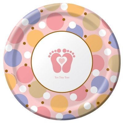 Tiny Toes Pink Dinner Plates - 1