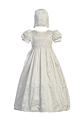 White Silk Christening Baptism Gown with Laced Bodice and Matching Hat - XS (0-3 Month)