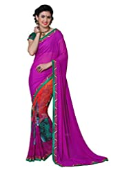 Pink Party Wear Women Georgette Printed Saree Fancy Lace Work On Blouse Borders