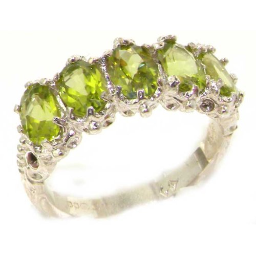 Victorian Design Solid English Sterling Silver Natural Peridot Ring - Size 12 - Finger Sizes 5 to 12 Available - Suitable as an Anniversary ring, Engagement ring, Eternity ring, or Promise ring