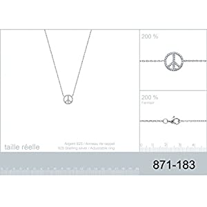 Collier en Argent 925/000 et Oxyde de Zirconium - Chaîne avec Pendentif Fixe : Symbole PEACE AND LOVE avec Strass, Brillants Blanc - Bijoux Femme