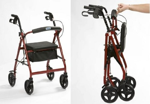 Lightweight Braked Rollator with Bag Red